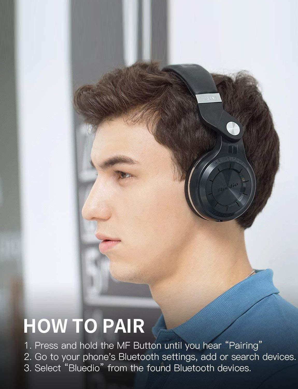 Bluedio T2S (Turbine 2 Shooting Brake) Bluetooth-stereohoofdtelefoon draadloze hoofdtelefoon Bluetooth 4.1-hoofdtelefoon op de oortelefoon (wit)
