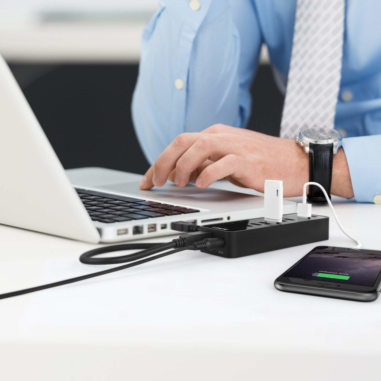 AUKEY SuperSpeed 7-poorts USB 3.0-hub met 2 slimme oplaadpoorten (tot 2.4A) met USB 3.0-kabel en 12V 4A-voedingsadapter, CB-H18
