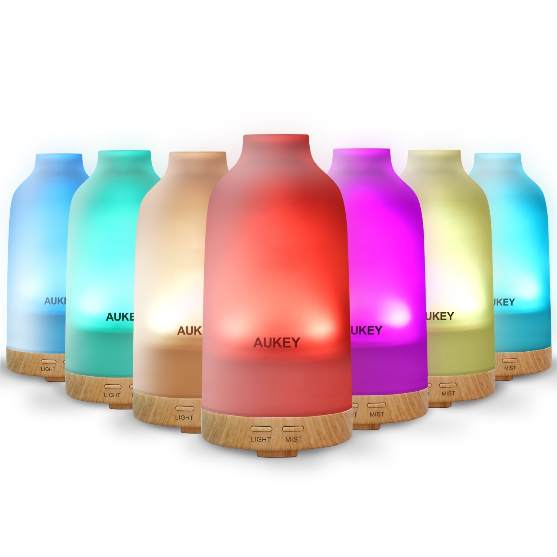 AUKEY Glas Aroma Diffuser Etherische olie Luchtbevochtiger met 7-kleuren LED-licht Verandert Ultrasone Cool Mist en Auto Timer voor slaapkamer, spa en kantoor