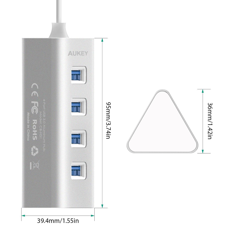 AUKEY cb-h31 - Aluminium USB 3.0-hub met 4 poorten, snelle gegevensoverdrachtsnelheden, met vorm van driehoekig prisma, compatibel met Windows XP / Vista / 7/8, Linux, MAC OS 10.2, Android 4.0 of hoger, Zilver
