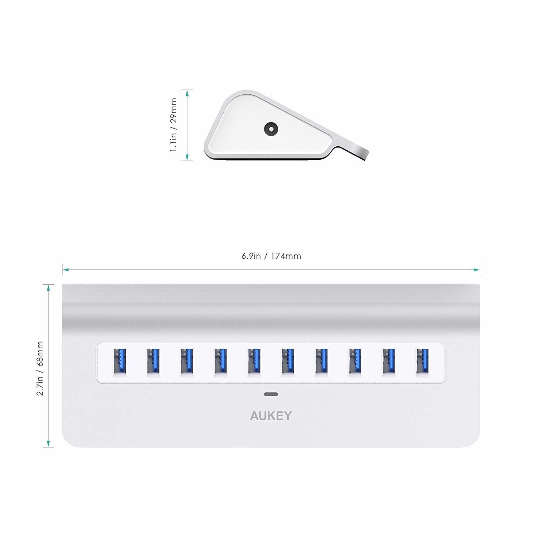 AUKEY USB 3.0 Hub 10 poorten aluminium Superspeed USB HUB met USB 3.0-kabel voor iMac, MacBook Air, MacBook Pro, Mac Mini, pc en laptops
