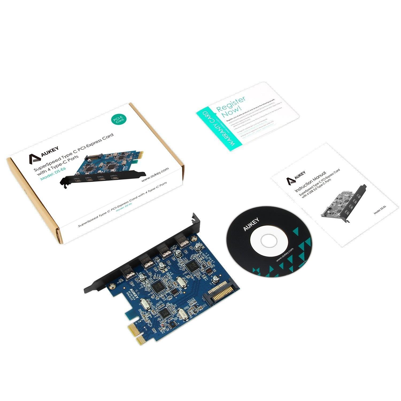 AUKEY PCI Express-kaart 4-poorts USB 3.0 USB C-uitbreidingskaart Type C Compatibel met Windows 2000 / XP / 7/8 / 8.1 en Linux-kernel