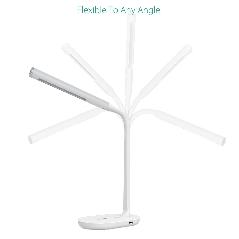 AUKEY LED-bureaulamp 7W met flexibele hals, tafellamp met 3 niveaus van instelbare helderheid, aanraakbediening, USB-laadpoort voor smartphone, Kindle en tablet, wit