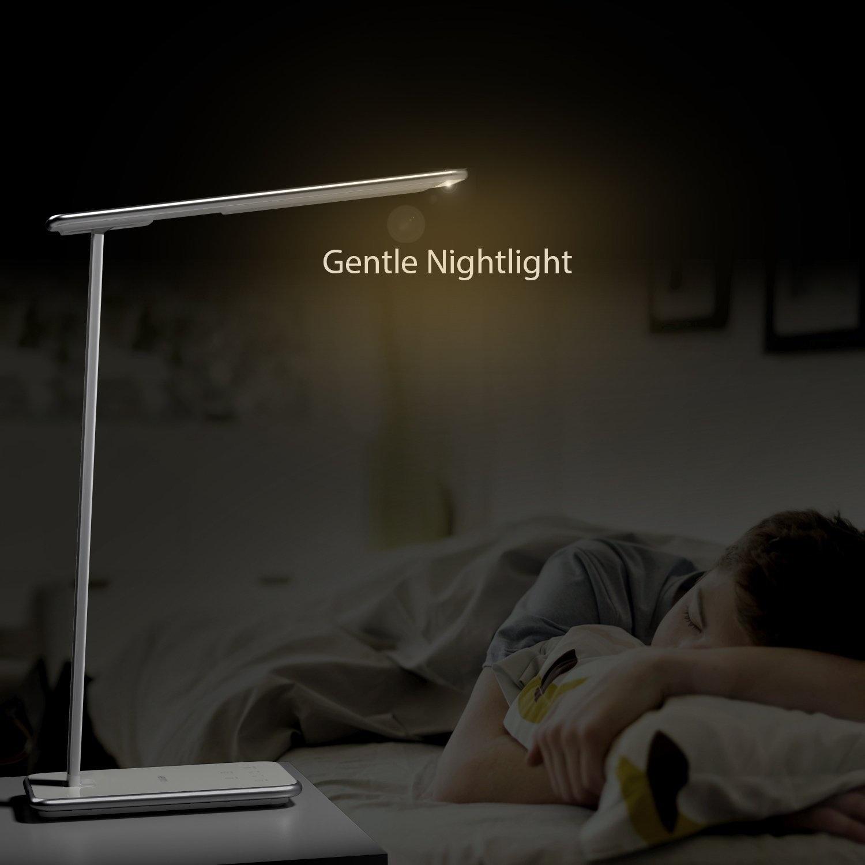 Aukey LT-T7 bureaulamp dimbare LED, aluminium arm, met mini nachtlampje en USB-aansluiting, 10W wit [Britse stekker]