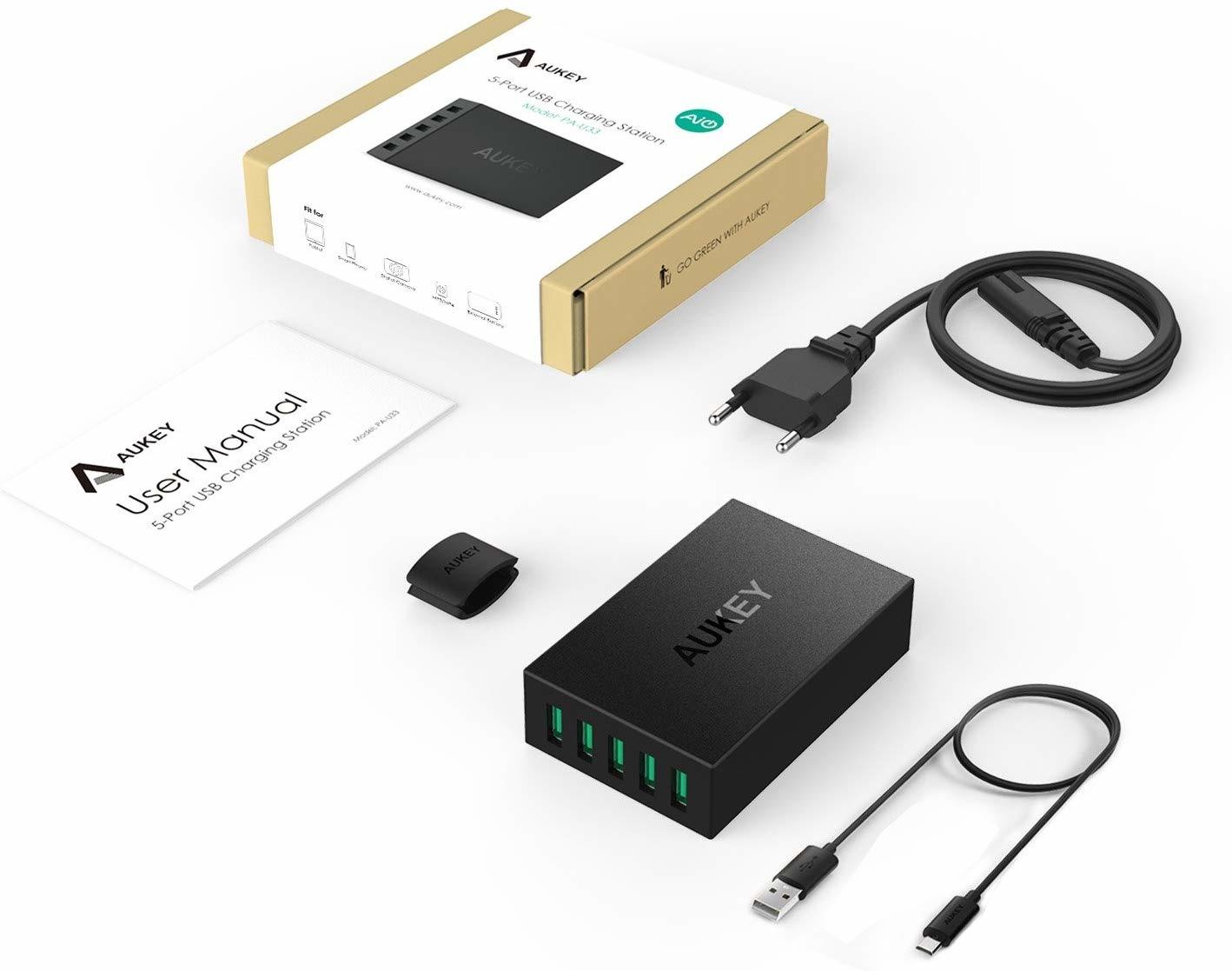 Aukey PA-U33 5-poorts 50W 10A USB-oplader voor iPhone / Android-smartphone / tablet / Bluetooth-luidspreker enz. zwart