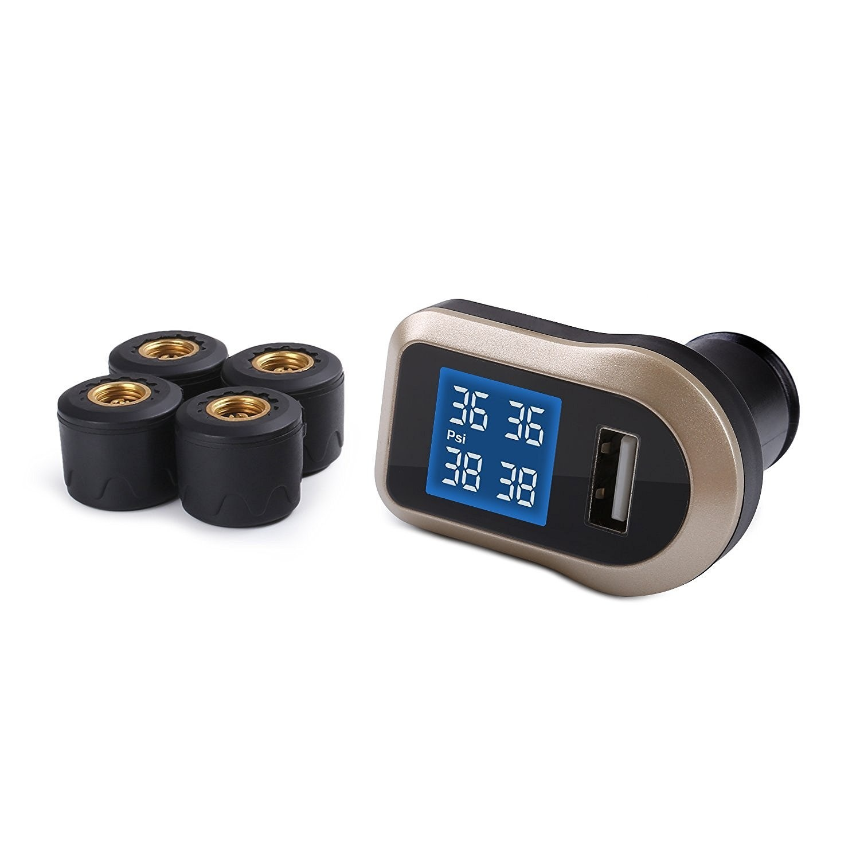 Auto-accessoires Packet Aukey TP / CO / 001, bandenspanningscontrolesysteem voertuig, TPMS met display, zwart