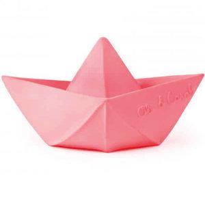Oli & Carol Origami boat pink teething and bath toy