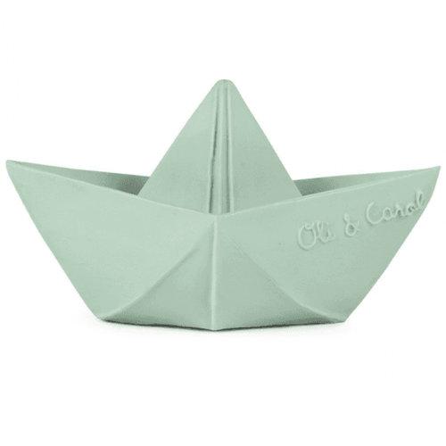 Oli & Carol Origami boat mint teething and bath toy