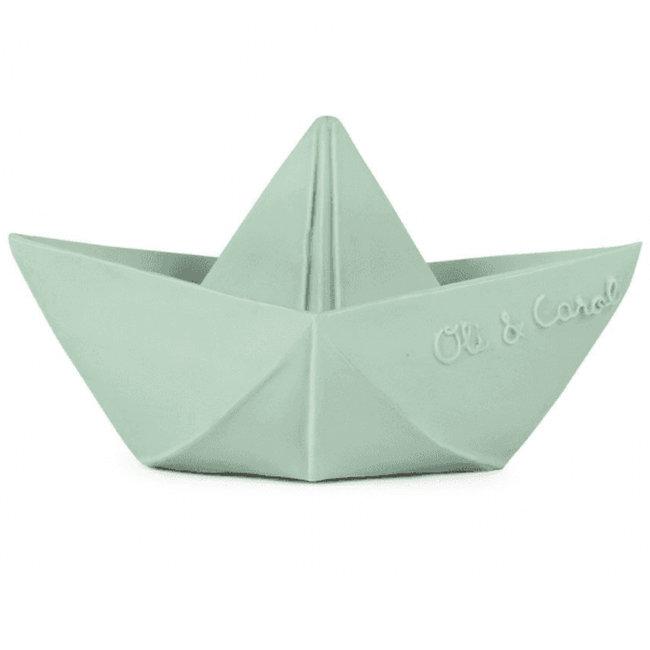 Oli & Carol Origami boot mint bad- en bijtspeeltje