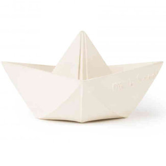 Oli & Carol Origami boat white teething and bath toy