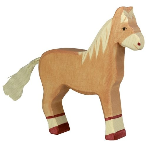 Holztiger Horse standing light brown 80033 14 cm