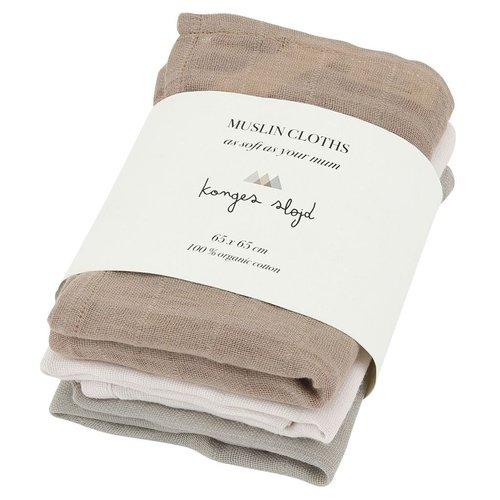 Konges Slojd Muslin Cloth Rose Dust 3 Pack