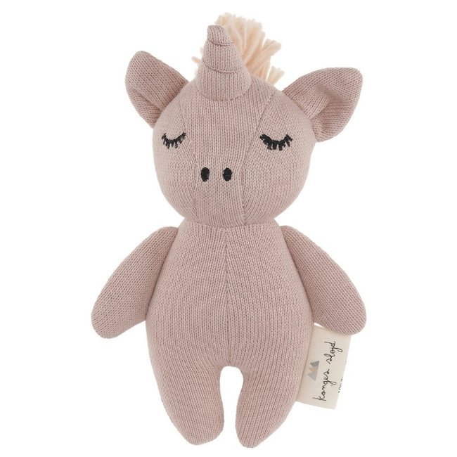 Konges Sløjd Mini Unicorn Knuffel Rammelaar Rose