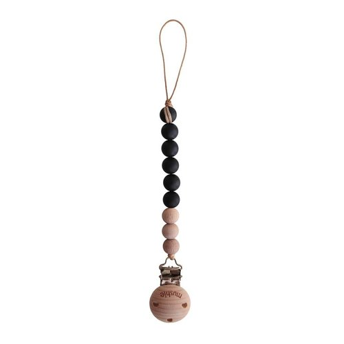 Mushie Pacifier Strap Cleo Black