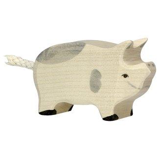 Holztiger Ferkel Geflecktes Weiß 80070 6,5 cm