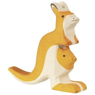 Holztiger Kangoeroe met jong 80193 15 cm