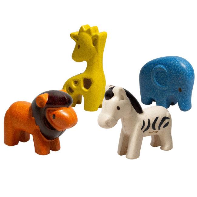 PlanToys Wilde Tiere Set Holz