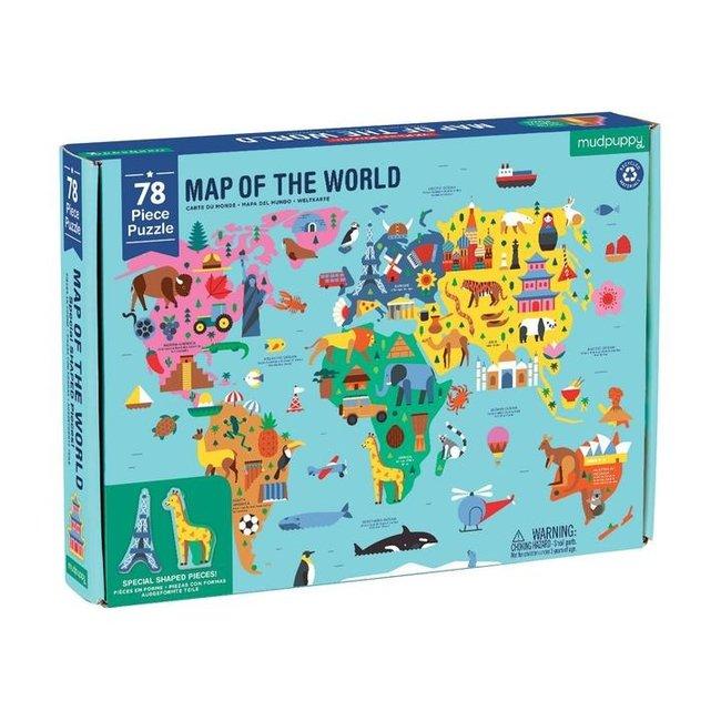 Mudpuppy Puzzel Wereldkaart 78 st.
