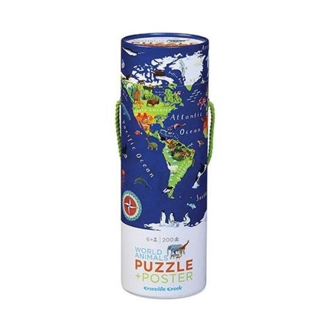 Crocodile Creek Puzzle & Poster Welt 200 Teile