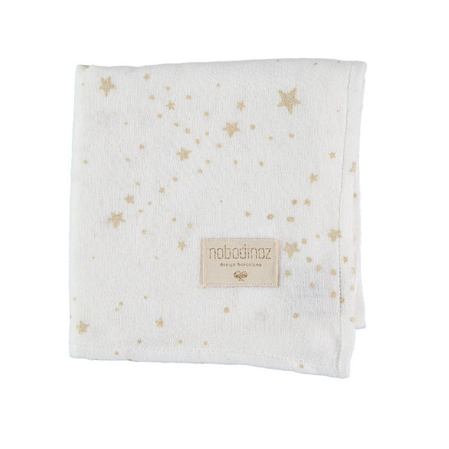 Nobodinoz Muslin Cloth Gold Stella White 70 x 70 cm