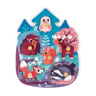 Janod Knob Puzzle Forest Animals