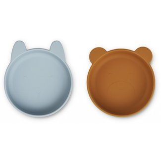 Liewood Silicone Bowls Vanessa Sea Blue Mustard  2 Pack
