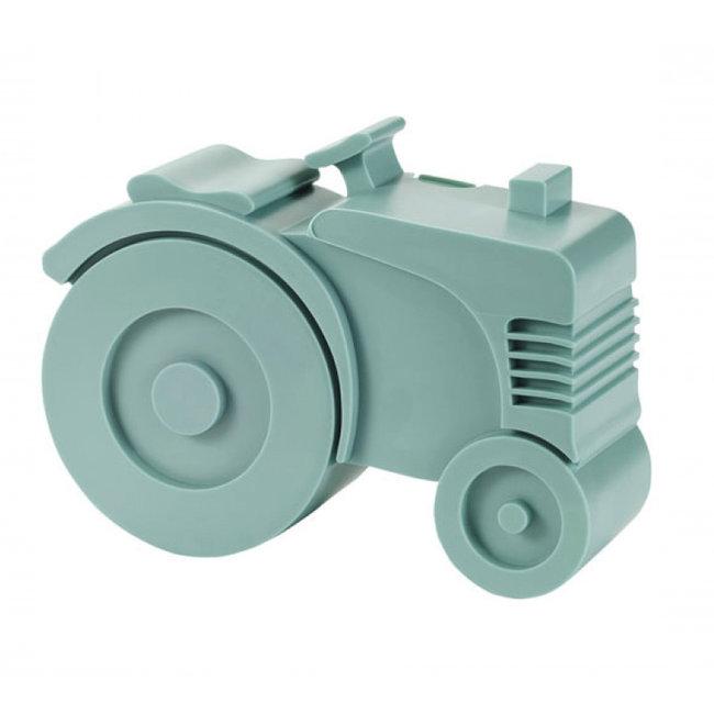 Blafre Broodtrommel Tractor Blauw Vakjes
