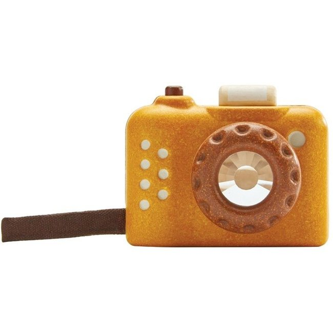 PlanToys Camera Hout Okergeel
