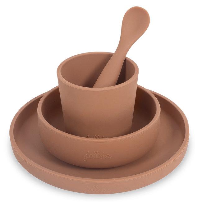 Jollein Kinderservies Bruin Siliconen Caramel