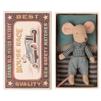 Maileg Mouse Little Brother Checkered Shirt Blue