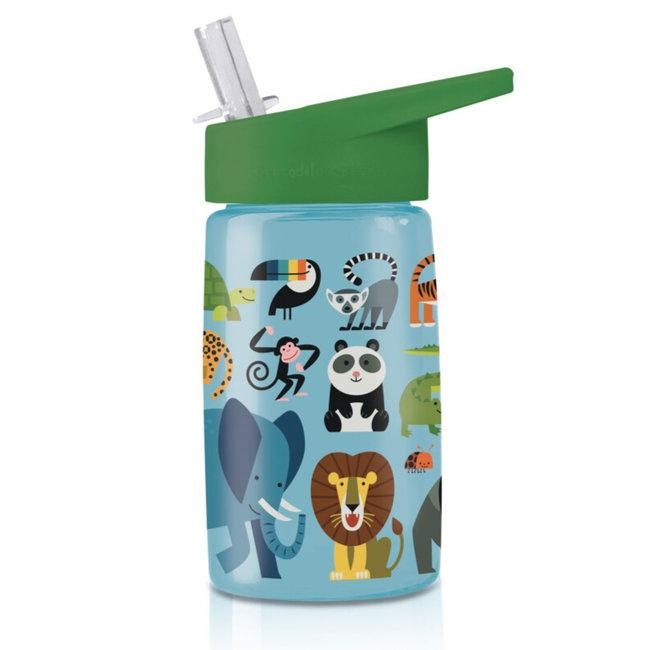 Crocodile Creek Trinkflasche mit Strohhalm Jungle Friends