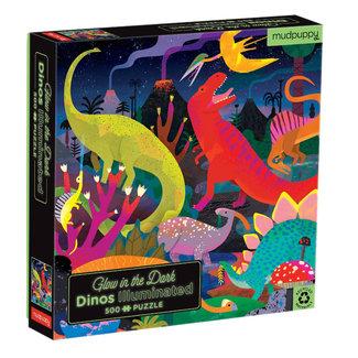 Mudpuppy Glow in the dark Puzzle Dinosaurier 500-Teile