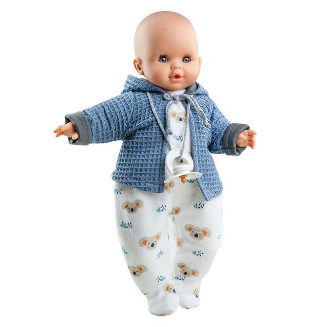Paola Reina Puppe Alex Weinen Schnuller Blau