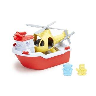 Green Toys Rettungsboot mit Hubschrauber