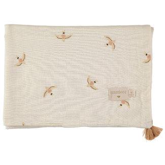 Nobodinoz Baby Blanket Treasure Haiku Birds Beige 100 x 70 cm