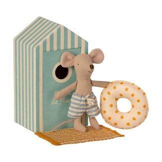 Maileg Beach Mouse Little Brother in Cabin de Plage