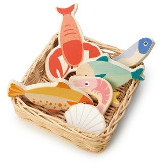 Tender Leaf Toys Wicker Basket Seafood