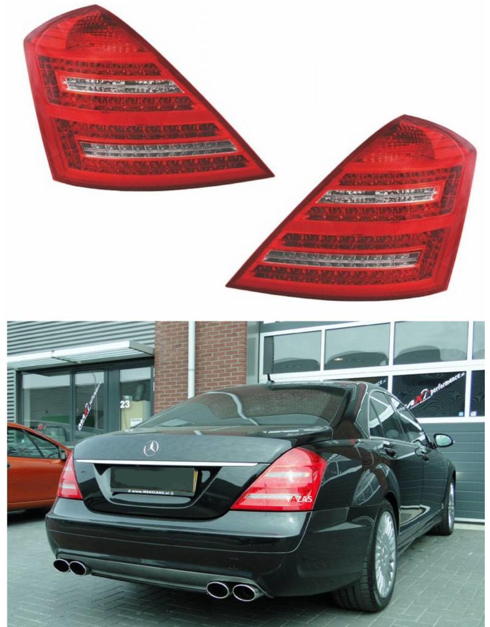 Mercedes Benz S Klasse W221 LED achterlichten rood wit