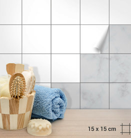 Tegelfolie 15 x 15 cm wit mat/ glanzend
