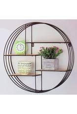 Wandkast rond met 4 planken, vintage look