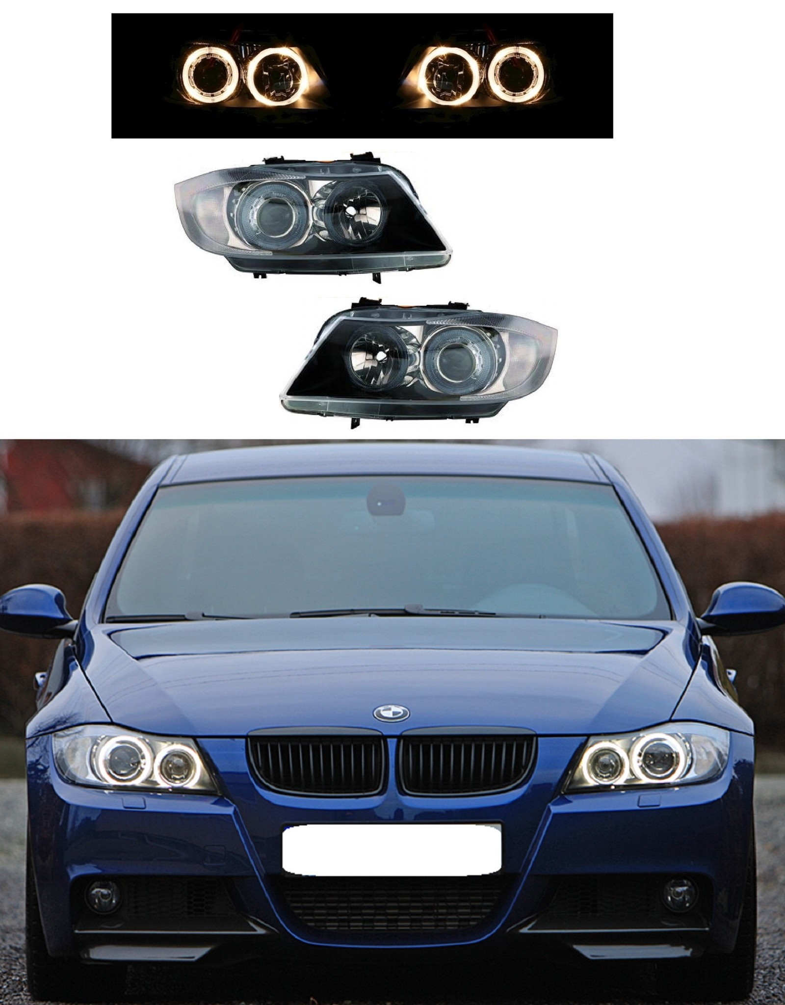 BMW 3 serie E90 E91 halogeen koplampen met Angel Eyes