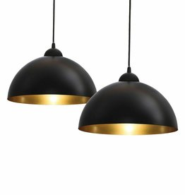2 x hanglamp in zwart en goudlook