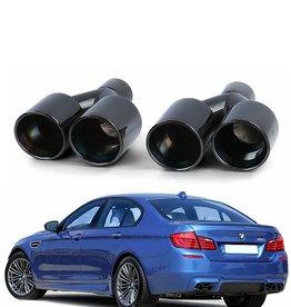 BMW 5 Serie F10 F11 dubbele zwarte RVS sierstukken