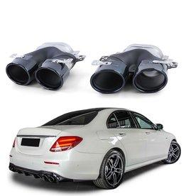 Mercedes Benz E Klasse W213 dubbele zwarte sierpijpen