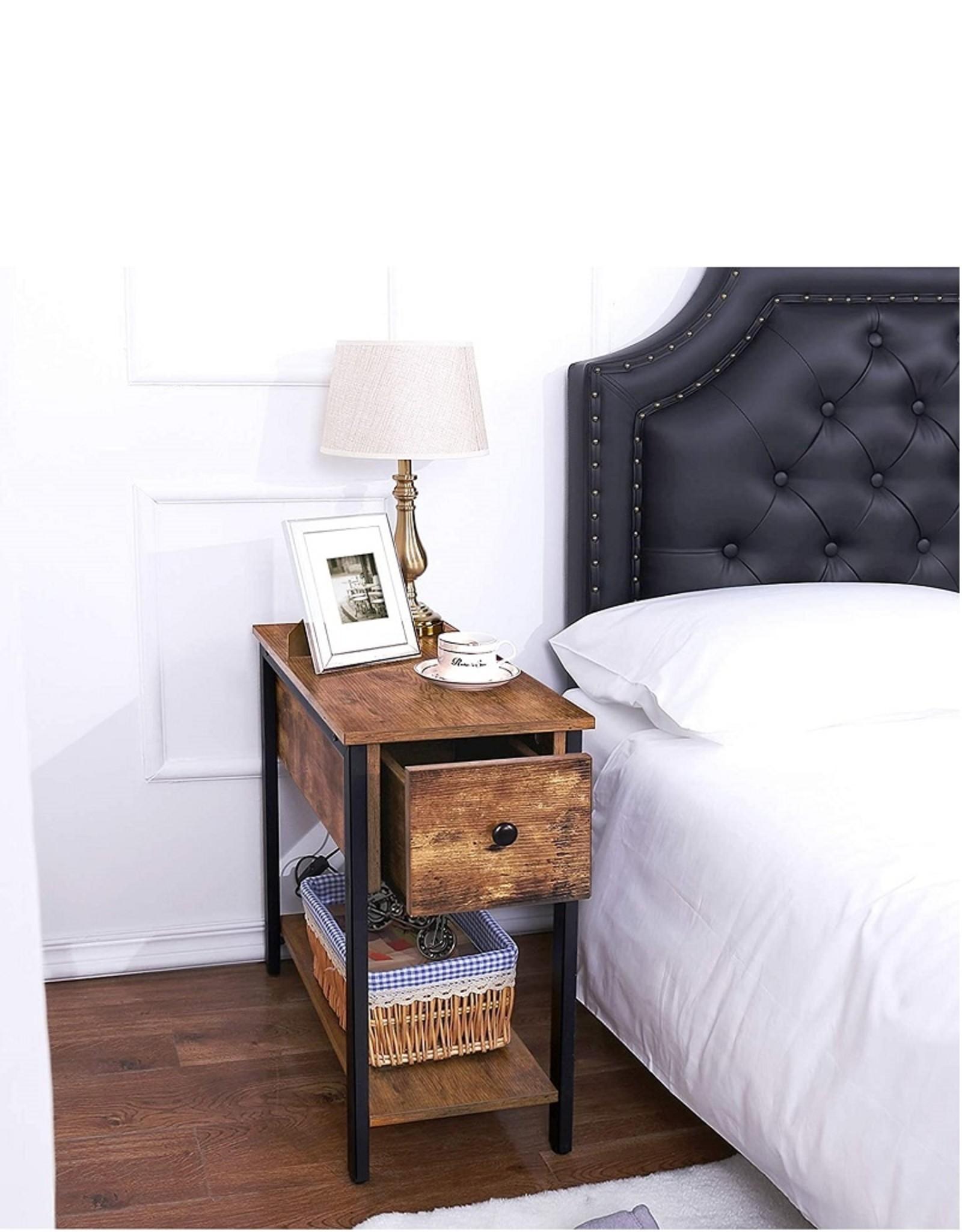 Bijzettafel industrieel, vintage design nachtkast