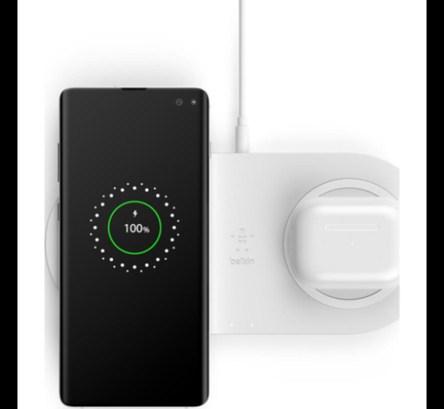 Belkin Boost - Duo Draadloze Oplader 10W + Adapter & Kabel - Wit