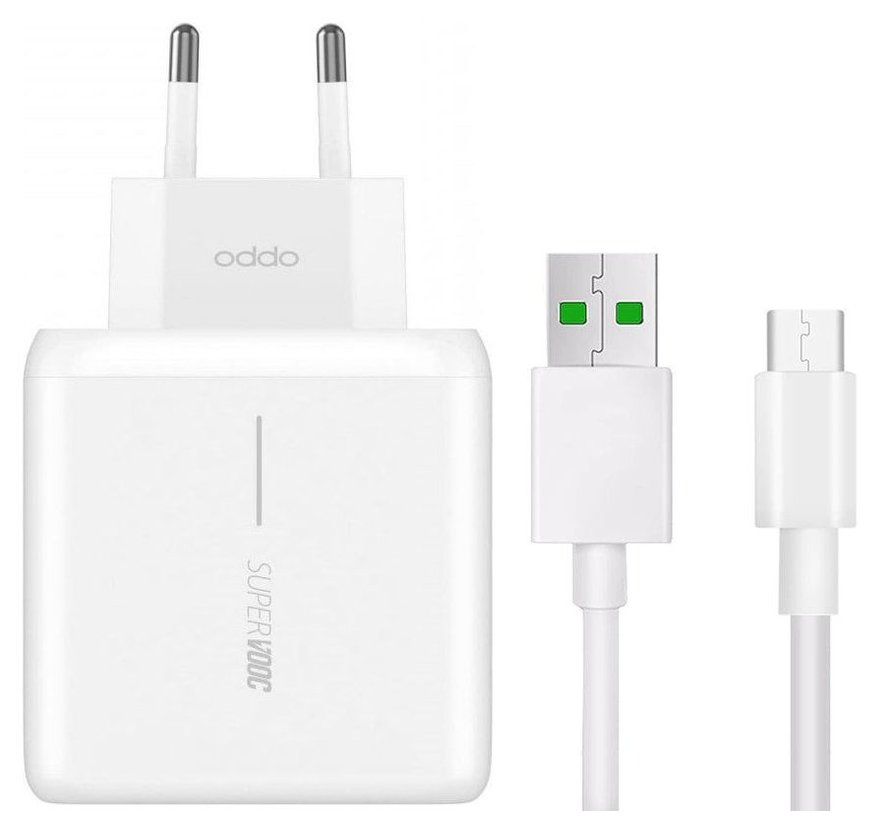 Oppo SupperVooc charger 65W VCA7GACH  + USB-C kabel Wit