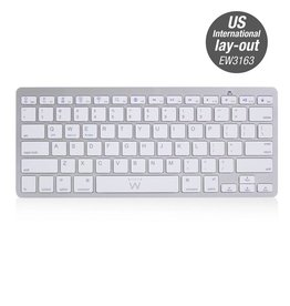 Ewent EW3163 toetsenbord Bluetooth QWERTY US International Zilver, Wit