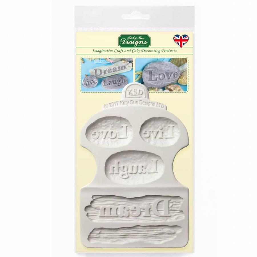 Katy Sue Mould Driftwood & Word Stones-1
