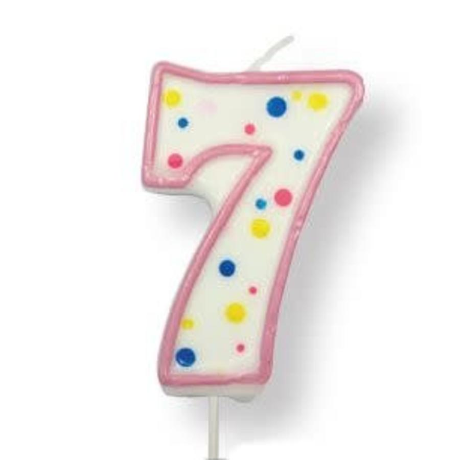 PME Large Candle pink Number 7-1